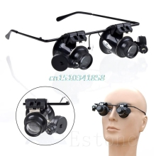 20X Magnifier Eye Glasses Loupe Jeweler Lens Magnifying Repair LED Light Watch цена