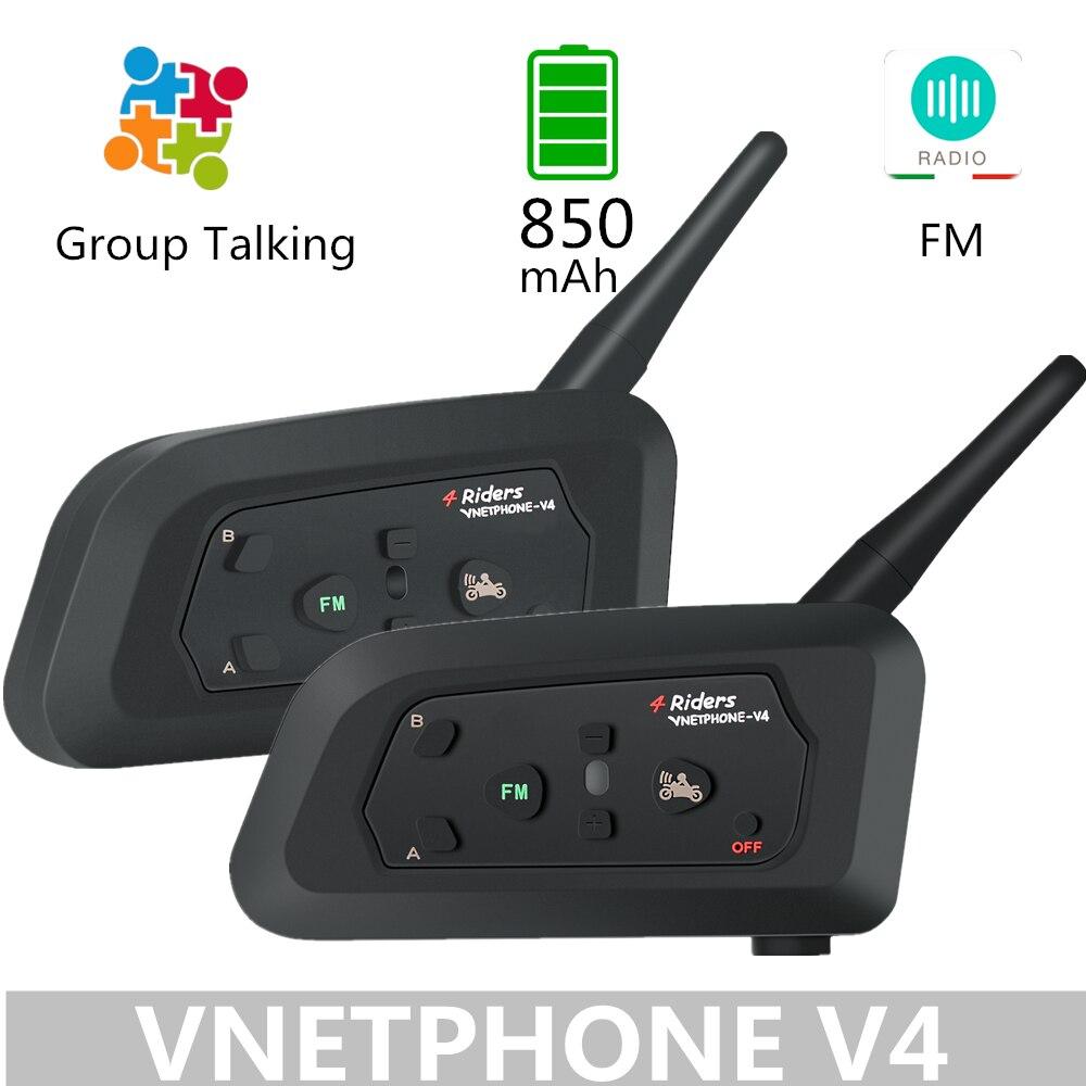 VNETPHONE V4 850Mah Bluetooth Motorcycle Intercom Helmet Headset Speaker Group Talking Wireless Communicator Dual Pack