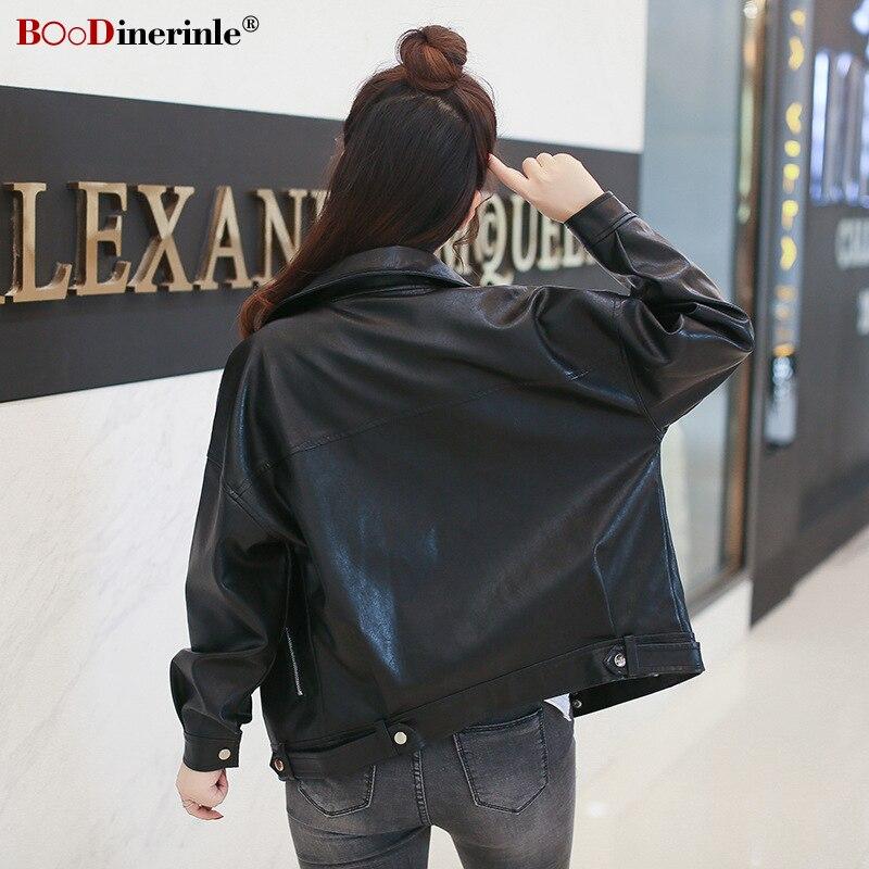 Pu Automne Black Boodinerinle Vestes En Casual Col 2018 Streetwear wCngpZ
