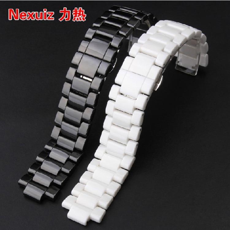 High Quality Men Watch Band White/Black Ceramic White Watchband Diamond Watch19mm 22mm Size Available for AR1421 AR1425 карабин black diamond black diamond rocklock twistlock