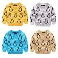 Осень Зима детские Трикотажные Свитера Дети мультфильм пингвин одежда Детские жаккардовые мальчиков дважды вязать свитер Мерсеризированный хлопка