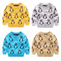 Autumn Winter Children's Knitted Sweaters Kids cartoon penguin clothing Baby jacquard boys double-knit sweater Mercerized cotton