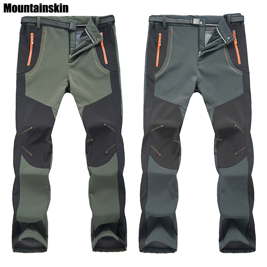 2018 New Winter Men Women Hiking Pants Outdoor Softshell Trousers Waterproof Windproof Thermal for Camping Ski Climbing RM032 monochrome