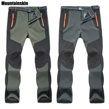 2018 New Winter Men Women Hiking Pants Outdoor Softshell Trousers Waterproof Windproof Thermal for Camping Ski Climbing RM032(China)