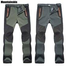 2017 Nuevo Invierno Mujeres de Los Hombres de Senderismo Pantalones Pantalones a prueba de Viento Impermeable Térmica Softshell Al Aire Libre para Acampar Esquí Escalada RM032