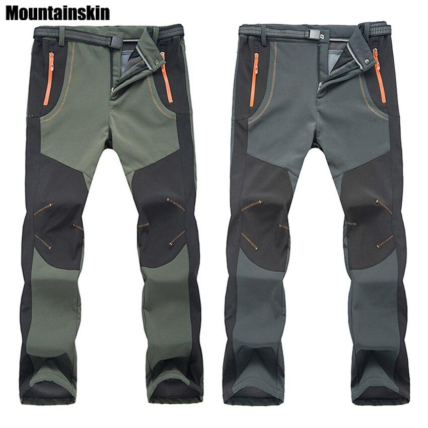 2018 nuevos hombres de invierno las mujeres pantalones de senderismo al aire libre Softshell pantalones impermeable a prueba de viento térmica para Camping esquí escalada RM032
