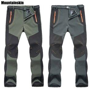 Image 1 - 2020 Nuovi Uomini di Inverno Delle Donne Pantaloni da Trekking Allaria Aperta Softshell Pantaloni Impermeabili Pantaloni Antivento Termico per Il Campeggio Sci Arrampicata RM032