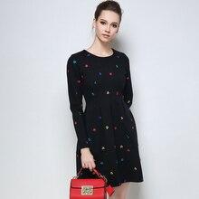 2017 Autumn Winter Embroidery Plus Size Dresses Lady Elegant Black Tunic Dress Woman Black Long Sleeves Casual Clothing M-5XL