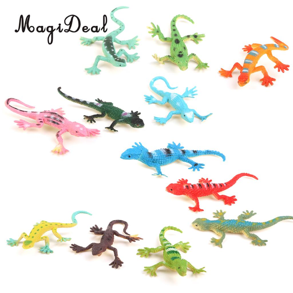 MagiDeal 12Pcs Small Plastic Lizard Gecko Model Figures Simulation Party Decoration For Kids Children Baby Toys Gift