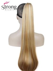 Image 2 - StrongBeauty długa prosta klamra kucyk Hairpiece przedłużanie włosów 26 cali syntetyczna odporność na ciepło wybór kolorów