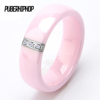2017 New Fashion 6MM Pink Crystal Ceramic Ring Women Smooth Ring Engagement Promise Wedding Band Gifts