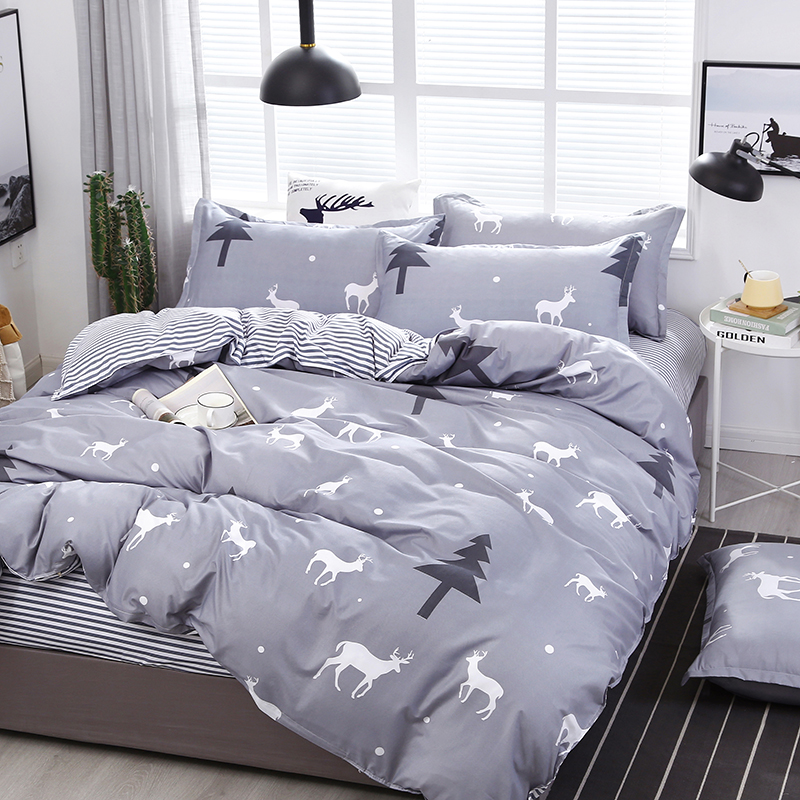 A37 High Quality Gray Tree Deer Printing Cartoon Style Bedding Set Bed Linings Duvet Cover Bed Sheet Pillowcases Cover Set 4pcs/(China)
