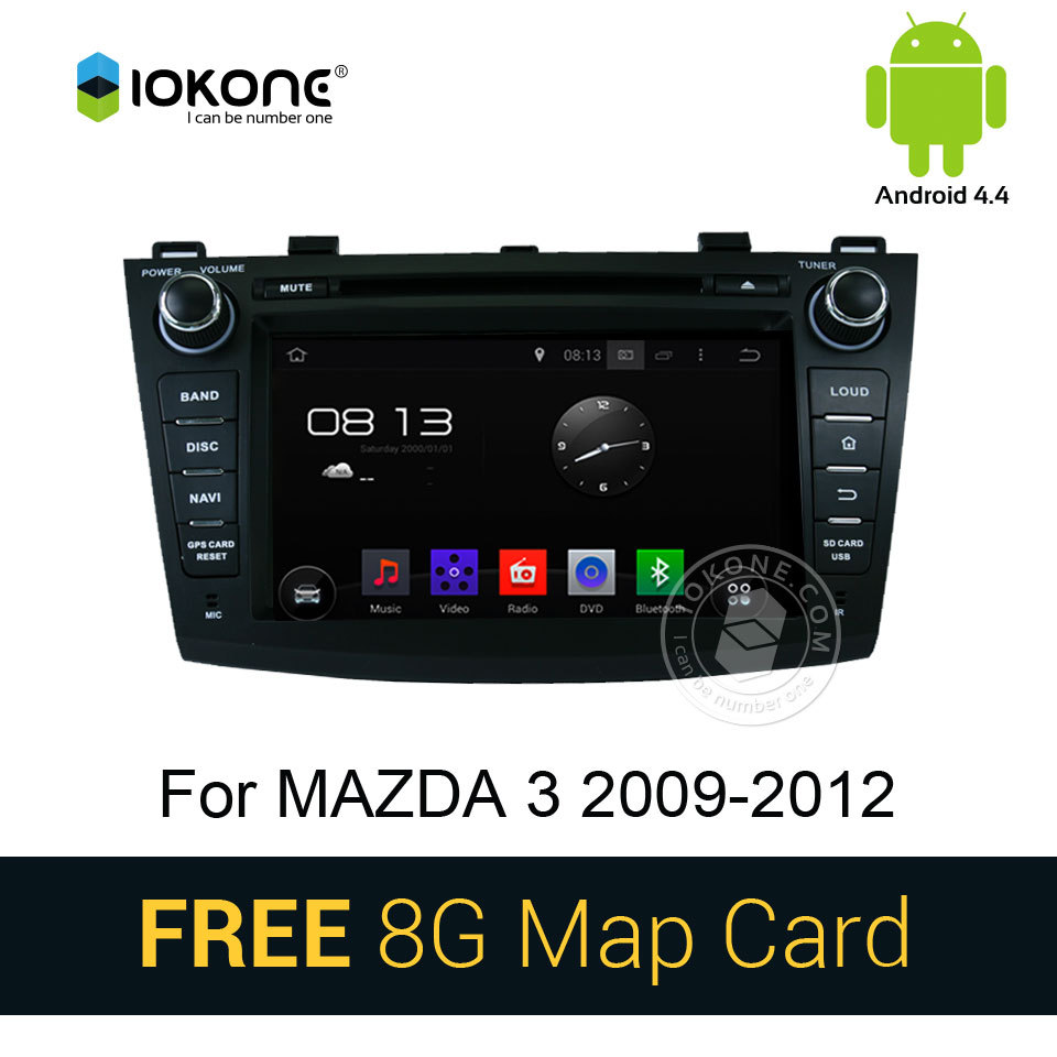 3G WIFI Android 4.4 Car DVD Player For Mazda 3 2010 2011 2012 with GPS Ipod Vedio navigation Bluetooth multimedia WIFI CANBUS