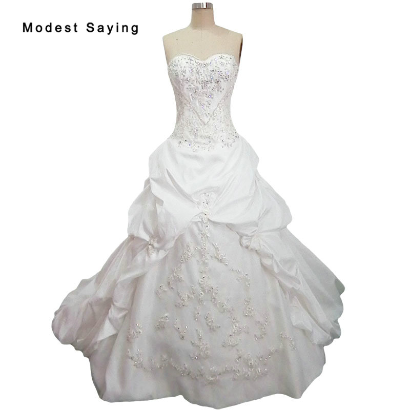 Vintage Princess Ball Gown Sweetheart Ruffled Wedding Dresses 2019 Beaded Lace Bridal Gowns Ivory Custom Made Vestido De Noiva