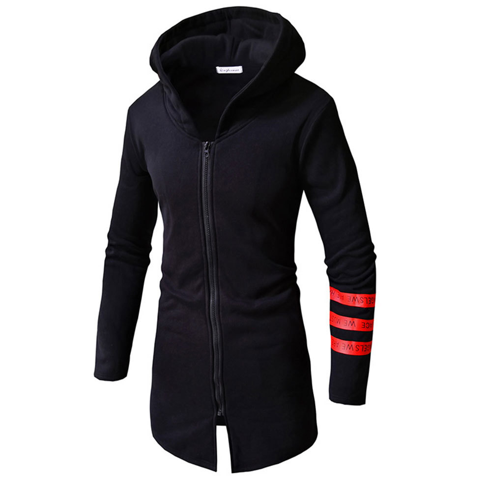 2019 New Long Style Dropshipping Hot Sale Gift Trench Men's Hoodie Fashion Autumn Spring Casual Printing Medium Top Coat