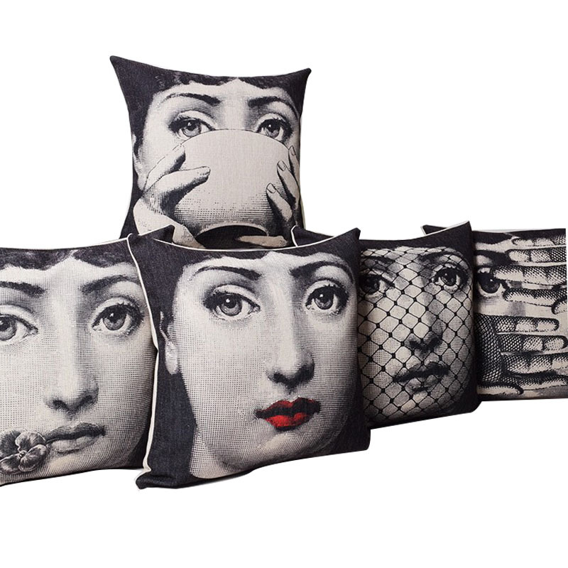 cushion vintage fornasetti art art beauty face skull. Black Bedroom Furniture Sets. Home Design Ideas