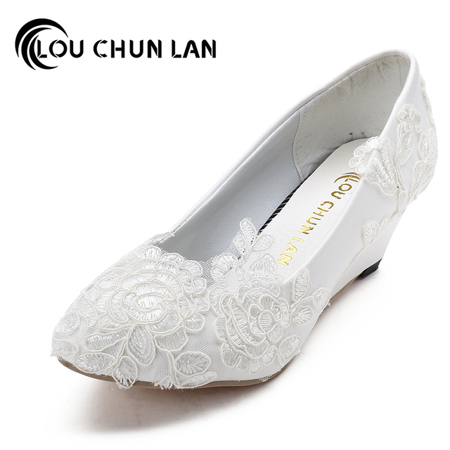 LOUCHUNLAN Women Pumps Shoes Lace Wedding Party Wedges Heel Med Round Toe Patent Leather