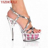 Sexy rose kryształ błyskotka ślubu panna młoda buty 15 cm buty na wysokim obcasie kobiece sandały sexy 6 cal kwiat kryształ buty