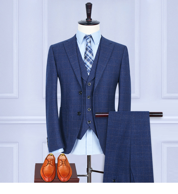 (Jacket+Pants+Vest) Wool Blue Herringbone Retro gentleman style custom made Men's suits tailor suit Blazer suits for men