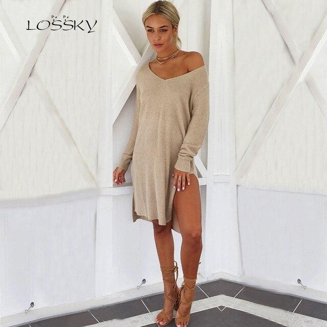 87c798956ff LOSSKY Loose Long Sleeve Sexy Pullover Autumn Winter Casual Jumper Dress V  Neck Split Asymmetrical Women Knitting Sweater Dress