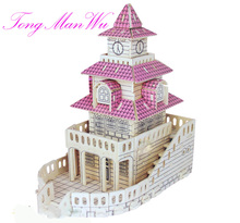 3 D Wool  Puzzle Children Building Model Wooden Magic Small Log  Castle Cabin House Toys Gift For Construction