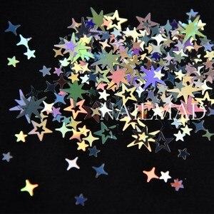Image 2 - 1 תיבת מתומן הולוגרפית הולו כוכבים ציפורניים פאייטים כוכב צלב כוכב גליטר תערובות נצנצים נייל ארט קישוטי