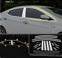 Car styling 304 Stainless Steel Window Trim Sticker For HYUNDAI ELANTRA MD Windows Frame Sequin Cover Trim Accessories 2012 2015