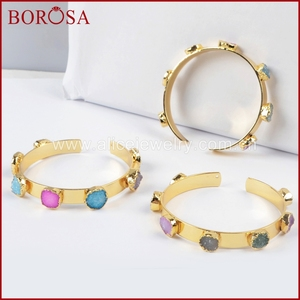 Image 5 - BOROSA Mix Farben tiny druzy armreif bunte 7 steine Kristall druzy armband armreif mode schmuck edelsteine für frauen G1098