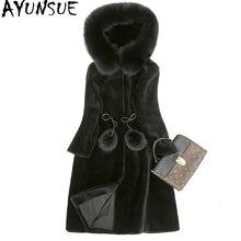 Ayunsue мех пальто женщина натуральный стрижки овец Шинель с подлинной лиса меховой воротник с капюшоном Шерсть зимняя куртка Для женщин WYQ835