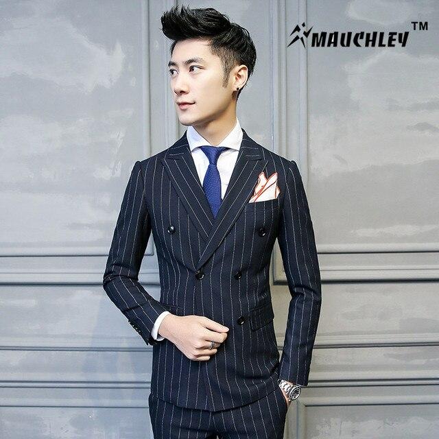 Aliexpress.com : Buy MAUCHLEY Gentleman Men Suit Navy Stripe ...