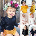 Cute Newborn Baby Girls Clothes Solid Long Sleeve Bodysuit Jumpsuit One-pieces Sunsuit Infant Bebes Outfit