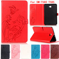 New Fashion high quality Carved PU leather case For samsung galaxy tab A 10.1 SM-T580 SM-T585 10.1'' Tablet smart case+Touch pen