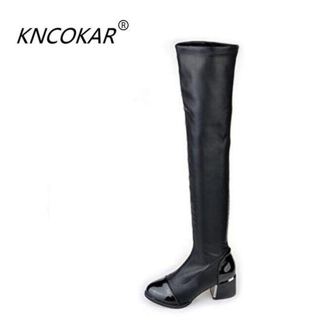 2017 Moda sonbahar ve kış ultra uzun tüp over-the-diz çizmeler gaotong botları soba borusu botları siyah elastik deri botlar