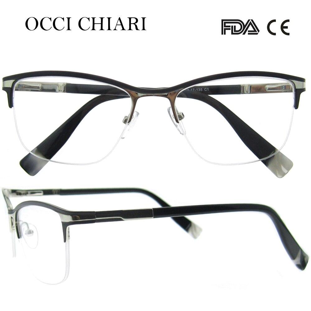 50a5bb219d561 OCCI CHIARI Acetate Women Eyeglasses Frames Black Half Rim Optical Glasses  Clear Lens Myopia Eyewear Spectacles Gafas W-COMODI