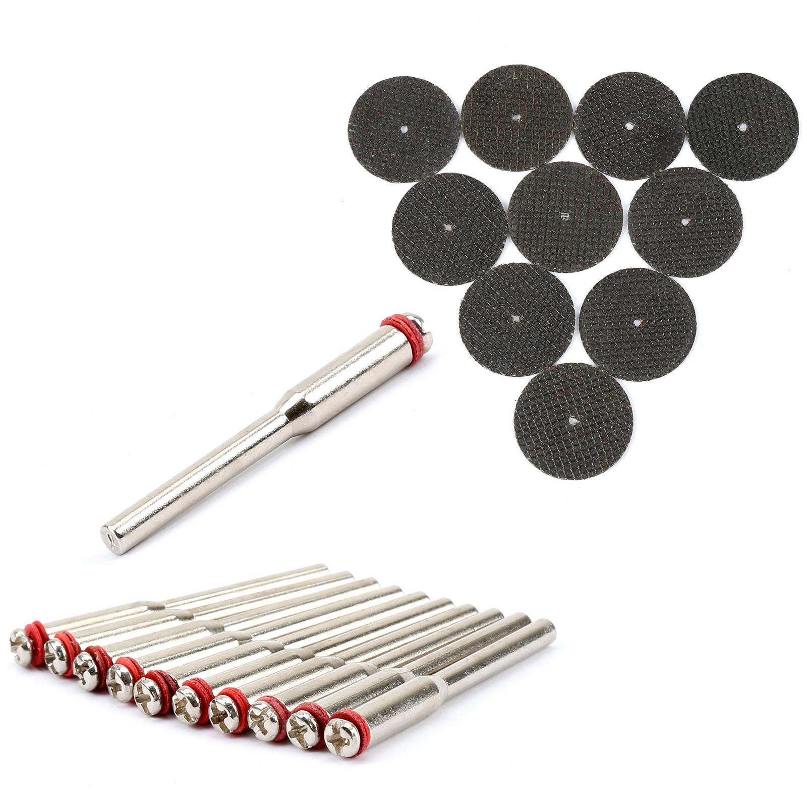 10Pcs 38mm Resin Fibre Cutting Disc Cut Off Wheel Discs +10Pcs 3.175mm Mandrels Wheel Holder For Rotary Tool Dremel Accessories
