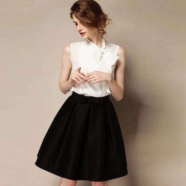 Aliexpress.com : Buy High Waist Pleated Short Black Skirt Audrey ...
