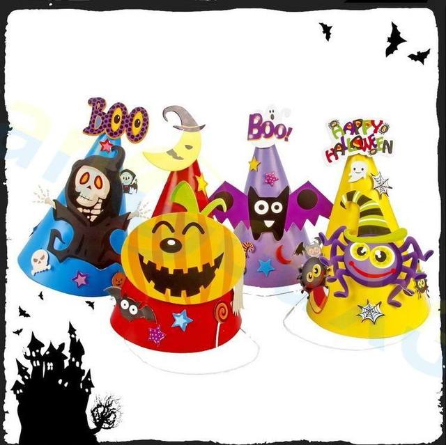 70pcs Easter Children Bat Pumpkin Ghost Paper Hat Cap Party Decoration Home Bar Props Supplies Diy Handmade Kid Toys