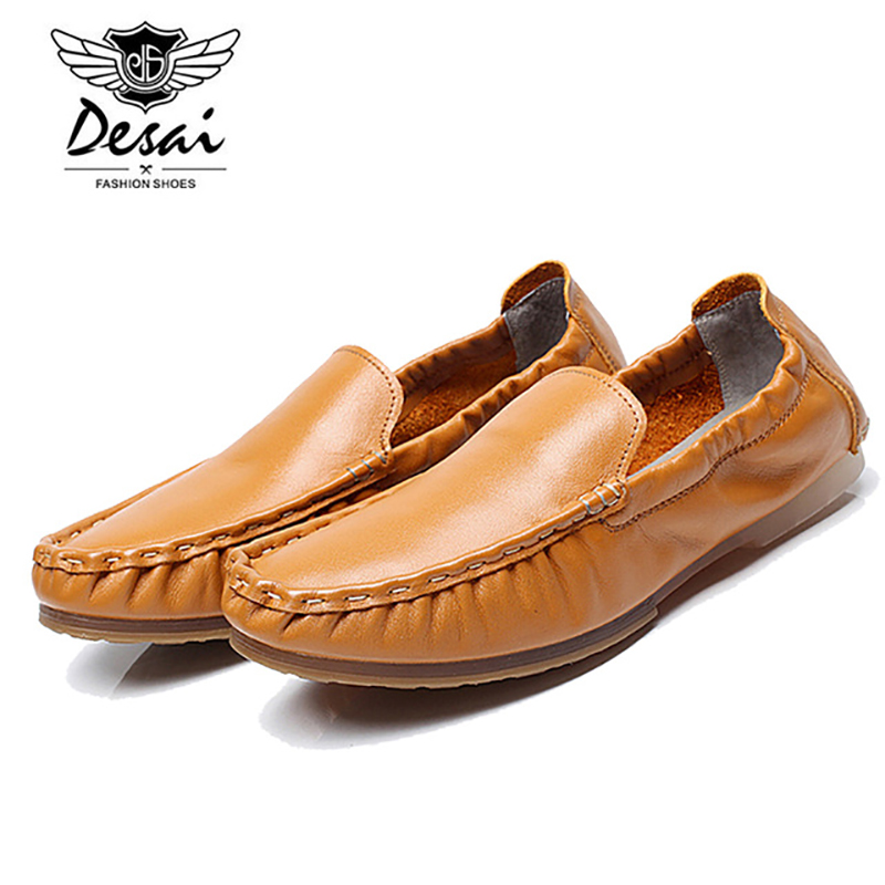Desai Brand Genuine Leather Mens Loafers Shoes Peas Shoes Breathable Casual Soft Flats Slip-on Boat Shoes for Men B1550701 zapatillas hombre 2017 fashion comfortable soft loafers genuine leather shoes men flats breathable casual footwear 2533408w