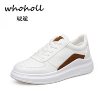 WHOHOLL Genuine Leather Womens Platform White Sneakers 2018 Fashion Women Design Lace Up Shoes Casual Woman Walking Footwear