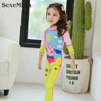 2017 Swimwear Kids Girls One Piece Cartoon Swimsuit Long Sleeve Bathing Suit For Kids High Quality