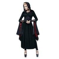 Панк женская Ведьма длинное платье рукав летучая мышь Готический Толстовки платье жрица Кружево платье Хэллоуин костюмы
