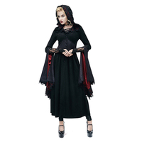 Punk Womens Witch Long Dress Batwing Sleeve Gothic Hoodies Dress Priestess Lace Dress Holloween Costumes