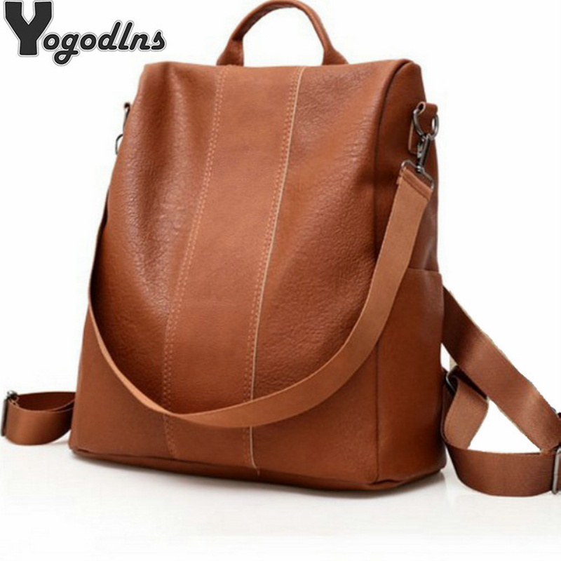 Fashion Women Backpacks Simple Daypack Anti-Theft PU Leather Backpacks Female Shoulder Bags Teenage Girls Travel Knapsack New