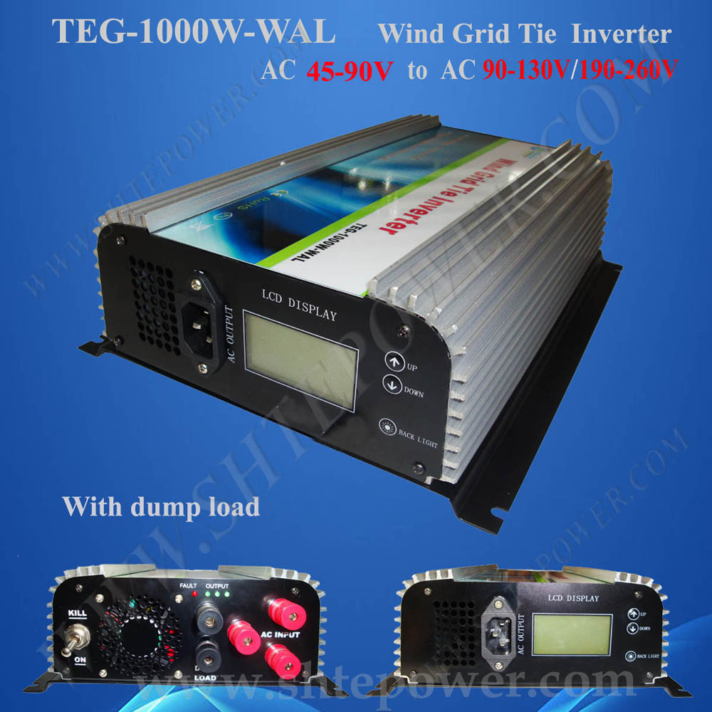 1kw ac to ac wind grid tie inverter ,48v to 110v 220v pure sine wave converter with LCD display 2000w wind pure sine wave mppt grid tie power inverter for wind turbines ac45 90v input to ac185v 265v output cooling fans