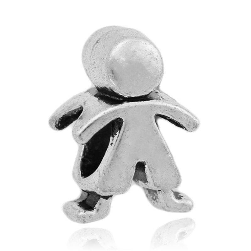 Free Shipping 1PC Ancient Silver Baby Boy Beads Fits European Pandora Charm Bracelets for jewelry making