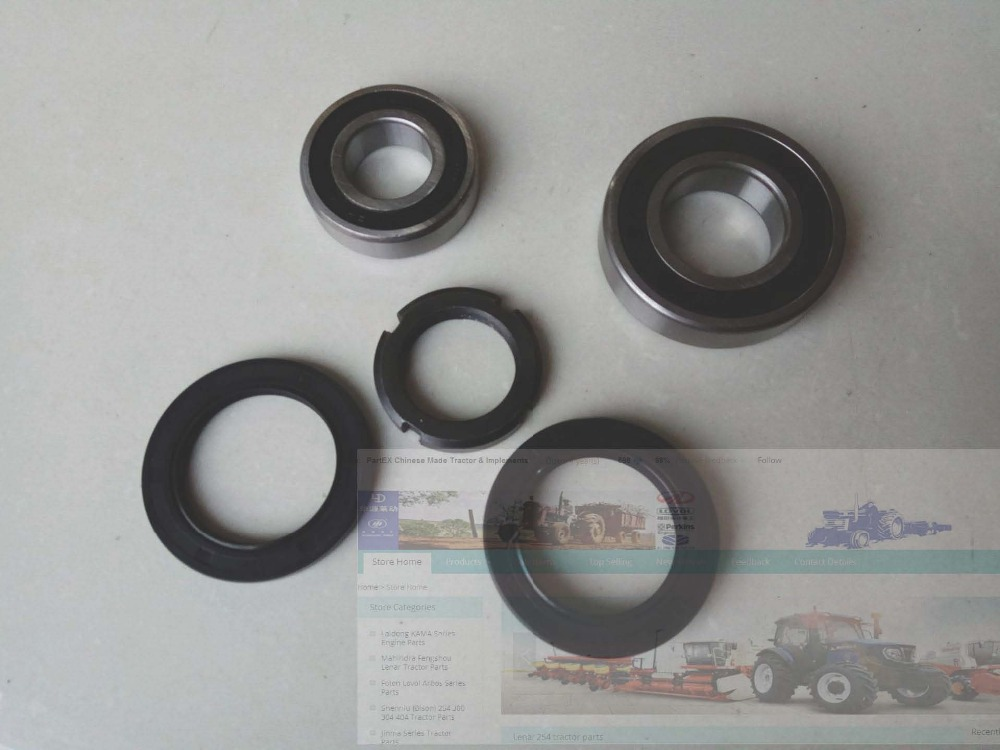 FS254 Lenar 254 II 274II set of oil seals, bearing and nut for the threaded drive shaft lenar 254 tractor with engine nj385 the crankshaft with oil seals set part number