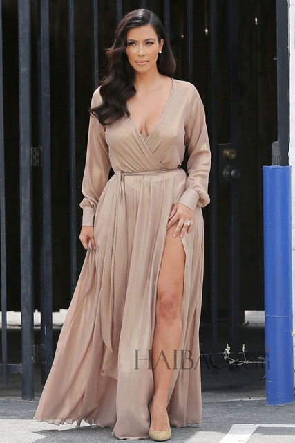 Sexy Kim Kardashian Dress Deep V-Neck High Split Long Sleeves Celebrity Red Carpet Dresses 2017 Champagne Party Evening Gowns