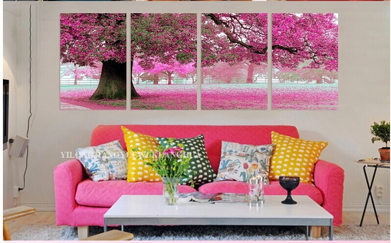 Framed 4 Panel Large Pink Tree Oil Painting on Canvas Art Wall ...