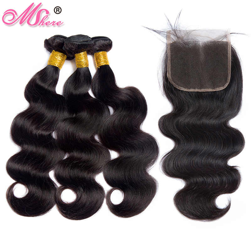 Body Wave Human Hair Bundles With Closure Brazilian Hair Lace Closure With Bundles Remy Hair Bundles With Closure Mshere Hair 1B