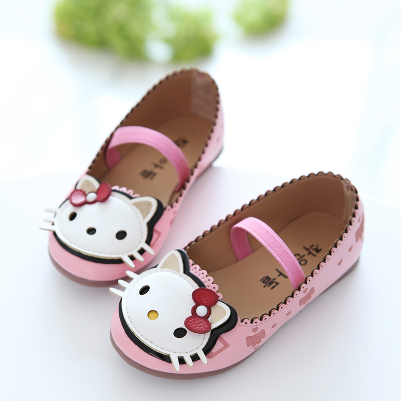 2018 fashion Girls Shoes spring autumn Princess Shoes for baby girl Sneakers Leather Hello Kitty Kids sneakers Female JM46